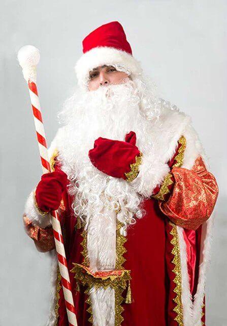 Дед Мороз с густой бородой и посохом.